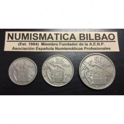 ESPAÑA 5 + 25 + 50 PESETAS 1957 BA BARCELONA @SERIE BA@ FRANCO ESTADO ESPAÑOL 3 MONEDAS DE NICKEL MBC+
