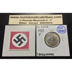 ALEMANIA 1 MARCO 1939 F AGUILA NAZI III REICH MONEDA DE NICKEL REICHSMARK @RARA@