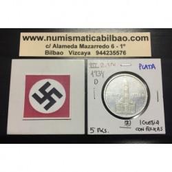 ALEMANIA 5 MARCOS 1934 D IGLESIA DE POSTDAM CON FECHAS MONEDA NAZI DE PLATA DEL III REICH 5 Reichsmark 2