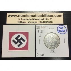 ALEMANIA 2 MARCOS 1936 J AGUILA ESVASTICA NAZI III REICH 1 MONEDA DE PLATA REICHSMARK @MUY RARA@