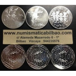 FRANCIA 3 monedas de 10 EUROS 2014 PLATA LIBERTE IGUALITE FRATERNITE SC France silver euro coins