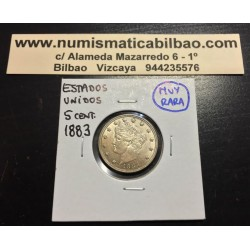 ESTADOS UNIDOS 5 CENTAVOS 1883 DAMA NICKEL MONEDA SIIN CIRCULAR USA CENT