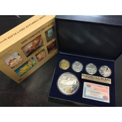 ESPAÑA 10 EUROS + 50 EUROS + 400 EUROS 2004 EUGENIO SALVADOR DALI 5 MONEDAS DE ORO y PLATA ESTUCHE y CERTIFICADO FNMT