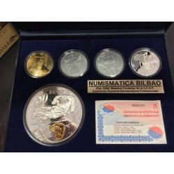 ESPAÑA 10 EUROS 2004 + 50 EUROS 2004 + 400 EUROS 2004 EUGENIO SALVADOR DALI 5 MONEDAS DE ORO y PLATA ESTUCHE FNMT
