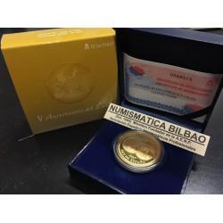 ESPAÑA 400 EUROS 2007 V ANIVERSARIO DEL EURO 8 ESCUDOS MONEDA DE ORO PROOF ESTUCHE y CERTIFICADO FNMT