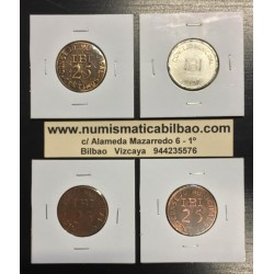 CONSEJO MUNICIPAL DE IBI 3 monedas de 25 CENTIMOS + 1 PESETA 1937 @RARAS@ ESPAÑA MONEDAS LOCALES GUERRA CIVIL