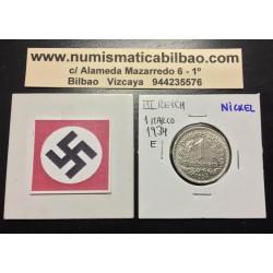 ALEMANIA 1 MARCO 1934 E AGUILA NAZI III REICH MONEDA DE NICKEL 2 Germany 1 Reichsmark 1934 E