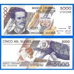 ECUADOR 5000 SUCRES 1995 JUAN MONTALVO PICK 128B BILLETE SC UNC