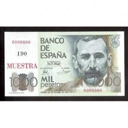 ESPAÑA 1000 PESETAS 1979 MUESTRA 190 - PRUEBA DE FABRICACION DE LA FNMT SIN CIRCULAR @SUPER RARO@