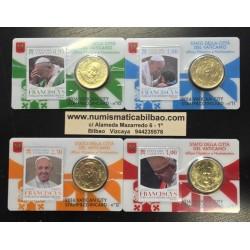 . 2015 VATICANO 50 CENTIMOS COINCARD Nº 6+7+8+9 COIN CARD WITH S