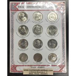 12 MONEDAS 1958 / 1986 THAILAND THAI COMMEMORATIVE COINS SET 1+5+10 BAHT NICKEL KING & PRINCESS