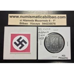 ALBANIA 2 LEK 1939 VITTORIO EMANUELLE III KM.32 @NO MAGNETIC@ MONEDA DE ACERO OCUPACION NAZI III REICH WWII