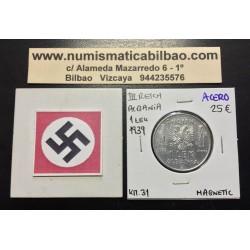 ALBANIA 1 LEK 1939 VITTORIO EMANUELLE III KM.31 @MAGNETIC@ MONEDA DE ACERO OCUPACION NAZI III REICH WWII