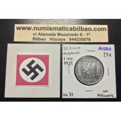 ALBANIA 1 LEK 1939 VITTORIO EMANUELLE III KM.31 @NO MAGNETIC@ MONEDA DE ACERO OCUPACION NAZI III REICH WWII