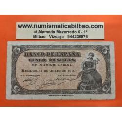 ESPAÑA 5 PESETAS 1937 PORTABELLA DAMA SERIE B3543792 Pick 106 BILLETE CIRCULADO @RARO@