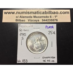 FILIPINAS 50 CENTAVOS 1945 S DAMA y ESCUDO KM.183 MONEDA DE PLATA @LUJO@ Ocupacion de Estados Unidos 1/2 Dolar PHILIPPINES
