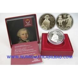 AUSTRIA 20 EUROS 2015 WOLFGANG AMADEUS MOZART DAS WUNDERKIND MONEDA DE PLATA ESTUCHE Österreich silver