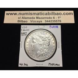 ESTADOS UNIDOS 1 DOLAR 1897 MORGAN KM.110 MONEDA DE PLATA @SC@ 1 USA Silver $1 Dollar Coin