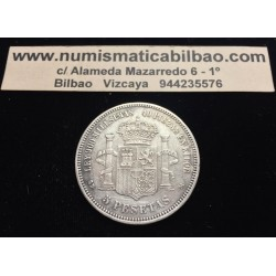 @ERROR SIN PUNTO@ ESPAÑA 5 PESETAS 1871 * 18 71 SDM AMADEO I DE SABOYA MONEDA DE PLATA (DURO) Spain silver KM.666