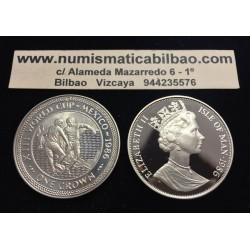 ISLA DE MAN 1 CORONA 1986 XIII MUNDIAL DE FUTBOL MEXICO 86 REGATE 2 JUGADORES KM.160B MONEDA DE PLATA PROOF Silver Crown Isle Of