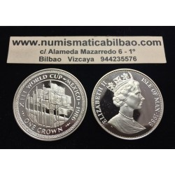 ISLA DE MAN 1 CORONA 1986 XIII MUNDIAL DE FUTBOL MEXICO 86 BANDERAS FLAGS KM.173B MONEDA DE PLATA PROOF Silver Crown Isle Of