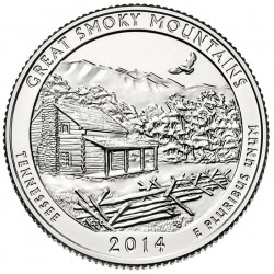 ESTADOS UNIDOS 25 CENTAVOS 2014 D PARQUE NACIONAL SMOKY MOUNTAINS EN TENNESSEE MONEDA DE NICKEL SC USA QUARTER