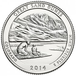 ESTADOS UNIDOS 25 CENTAVOS 2014 P PARQUE NACIONAL GREAT SAND DUNES EN COLORADO MONEDA DE NICKEL SC USA QUARTER