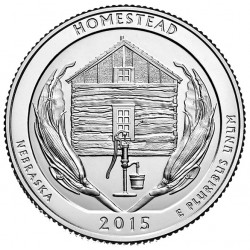 ESTADOS UNIDOS 25 CENTAVOS 2015 P PARQUE NACIONAL HOMESTEAD EN NEBRASKA MONEDA DE NICKEL SC USA QUARTER