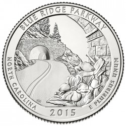 ESTADOS UNIDOS 25 CENTAVOS 2015 P PARQUE NACIONAL BLUE RIDGE PARKWAY EN NORTH CAROLINA MONEDA DE NICKEL SC USA QUARTER