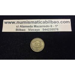 FRANCIA 50 CENTIMOS 1931 BUDTO DE DAMA Tipo MORLON KM.894 MONEDA DE LATON EBC France Cents