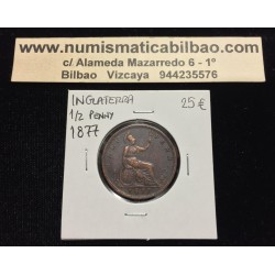 INGLATERRA 1/2 PENIQUE 1877 BRITANNIA REINA VICTORIA KM.755 MONEDA DE BRONCE MBC++ UK Half Penny coin