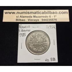 FRANCIA 5 FRANCOS 1935 DAMA LAVRILLIER KM.888 MONEDA DE NICKEL SC France Francs