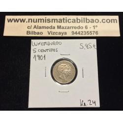 LUXEMBURGO 5 CENTIMOS 1901 ADOLPHE KM.24 MONEDA DE NICKEL MBC+ Luxembourg centimes