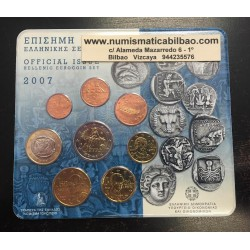GRECIA CARTERA OFICIAL EUROS 2007 SC 1+2+5+10+20+50 CENTIMOS 1 EURO + 2 EUROS EUROPA BU SET KMS 8 MONEDAS @RARA@