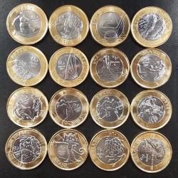 BRASIL 16 MONEDAS x 1 REAL 2014 + 2015 + 2016 OLIMPIADA DE RIO DE JANEIRO SIN CIRCULAR BIMETALICAS BRAZIL OLYMPIC COINS