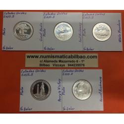 @PLATA@ ESTADOS UNIDOS 25 CENTAVOS 2013 Letra S PARQUES NACIONALES 5 MONEDAS PROOF USA QUARTER From Mint Set