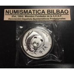 CHINA 10 YUAN 2003 OSO PANDA y PAGODA MONEDA DE PLATA SC 1 OZ ONZA OUNCE TROY Silver coin SEALED MINT BAG