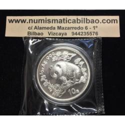 CHINA 10 YUAN 1997 OSO PANDA y PAGODA FECHA PEQUEÑA MONEDA DE PLATA SC 1 OZ ONZA OUNCE Silver coin SMALL DATE SEALED MINT BAG