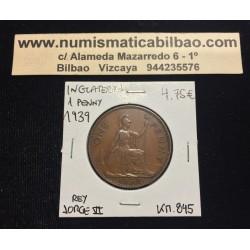 INGLATERRA 1 PENIQUE 1939 BRITANNIA JORGE VI KM.845 MONEDA DE BRONCE SC- UK penny coin WWII