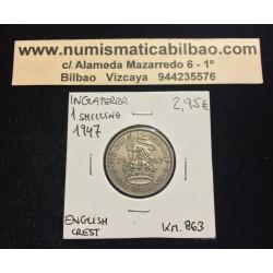 INGLATERRA 1 SHILLING 1947 LEON SOBRE ESCUDO ENGLISH CREST KM.863 MONEDA DE NICKEL MBC+ UK United Kingdom