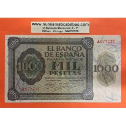 ESPAÑA 1000 PESETAS 1936 BURGOS y ALCAZAR DE TOLEDO Serie A.677233 Pick 103 @BILLETE RARO@ Spain banknote