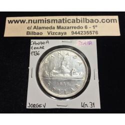 CANADA 1 DOLAR 1936 JORGE V INDIOS EN CANOA KM.31 MONEDA DE PLATA EBC-@MUESCAS@ Silver $1 Dollar VOYAGEUR GEORGIUS V