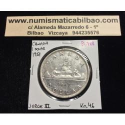 CANADA 1 DOLAR 1951 REY JORGE VI INDIOS EN CANOA KM.46 MONEDA DE PLATA EBC Silver $1 Dollar VOYAGEUR KING GEORGIUS V