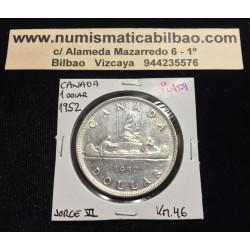 CANADA 1 DOLAR 1952 REY JORGE VI INDIOS EN CANOA KM.46 MONEDA DE PLATA EBC Silver $1 Dollar VOYAGEUR KING GEORGIUS V