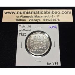 FRANCIA 10 FRANCOS 1932 BUSTO DE DAMA Ceca de TURIN KM.878 MONEDA DE PLATA @LUJO@ France Silver Francs