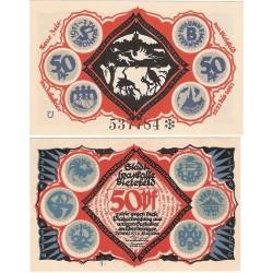 @NOTGELD@ ALEMANIA 50 PFENNIG 1921 STADT BIELEFELD CIGUEÑAS y BEBES BILLETE SC Germany
