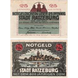 @NOTGELD@ ALEMANIA 25 PFENNIG 1921 STADT RATZEBURG CASTILLO JUNTO AL LAGO BILLETE SC Germany