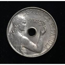 ESPAÑA 25 CENTIMOS 1934 DAMA KM.751 MONEDA DE NICKEL EBC- REPUBLICA ESPAÑOLA