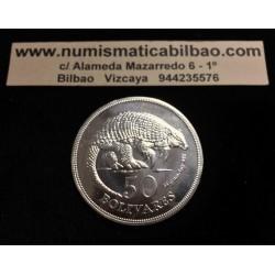 VENEZUELA 50 BOLIVARES 1975 VIDA SALVAJE WWF ARMADILLO KM.47 PLATA SC silver coin 1,04 OZ Onza