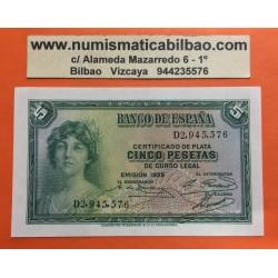 ESPAÑA 5 PESETAS 1935 DAMA Serie D 2945576 Pick 86 BILLETE SIN CIRCULAR SC II REPUBLICA ESPAÑOLA